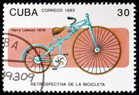 CUBA - CIRCA 1993: a stamp printed in Cuba shows bicycle, by Harry Lawson, 1879, circa 1993 Editorial