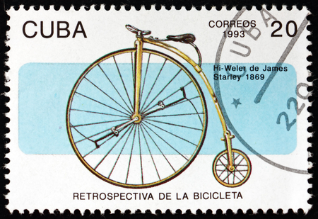 CUBA - CIRCA 1993: a stamp printed in Cuba shows bicycle, by James Starley, 1869, circa 1993