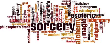 Sorcery word cloud concept Vector illustration. Illustration