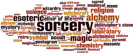 Sorcery word cloud concept Vector illustration. 일러스트