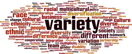 Variety word cloud concept Vector illustration. Illustration