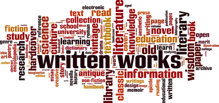 Written works word cloud concept Vector illustration.