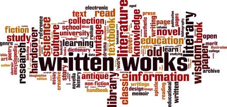 Written works word cloud concept Vector illustration.