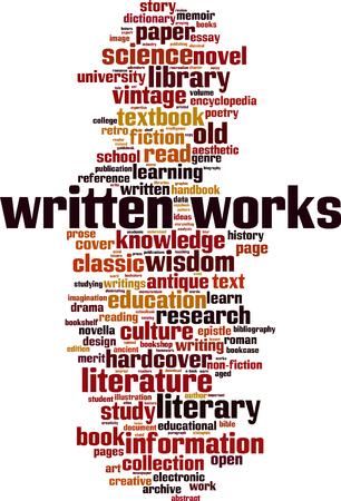 Written works word cloud concept Vector illustration
