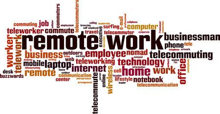 Remote work word cloud concept. Vector illustration
