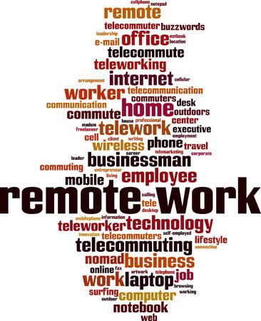 Remote work word cloud concept. Vector illustration