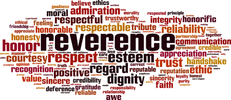 Reverence word cloud concept. Vector illustration
