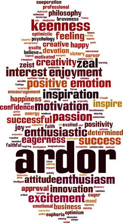 Ardor word cloud concept Vector illustration