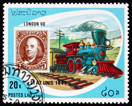 LAOS - CIRCA 1990: a stamp printed in Laos shows train, US, mode of mail transport, circa 1990 Editorial