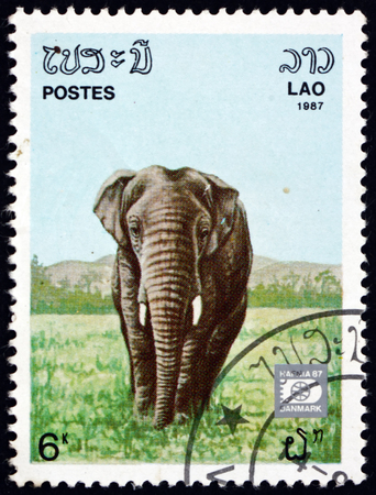 LAOS - CIRCA 1987: a stamp printed in Laos shows Indian elephant, elephas maximus indicus, is one of three recognized subspecies of the Asian elephant, circa 1987 Editöryel