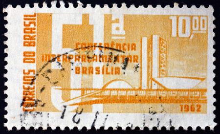BRAZIL - CIRCA 1962: a stamp printed in the Brazil shows buildings in Brasilia, 51st interparliamentary conference, Brasilia, circa 1962
