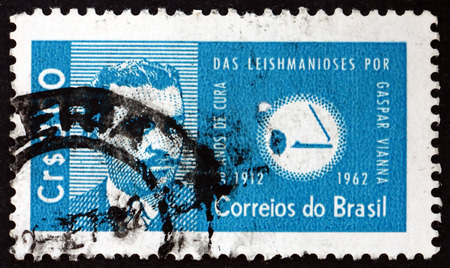 BRAZIL - CIRCA 1962: a stamp printed in the Brazil shows Dr. Gaspar Vianna and leishmania protozoa, discovery by Gaspar Oliveiro Vianna of a cure for leishmaniasis, circa 1962