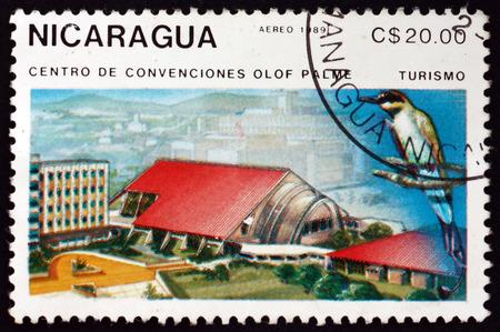 NICARAGUA - CIRCA 1989: a stamp printed in Nicaragua shows Olof Palme convention center, circa 1989