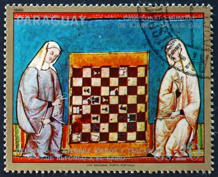PARAGUAY - CIRCA 1980: a stamp printed in Paraguay shows Two Women and Chess Board, Illustration from the Book of Chess, 1980 World Chess Championships, Mexico, circa 1980