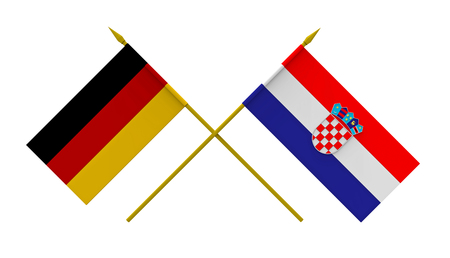 Flags of Croatia and Germany, 3d render, isolated on white Stock Photo