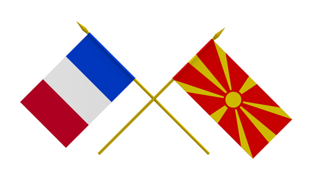 Flags of France and Macedonia, 3d render, isolated on white Stock Photo
