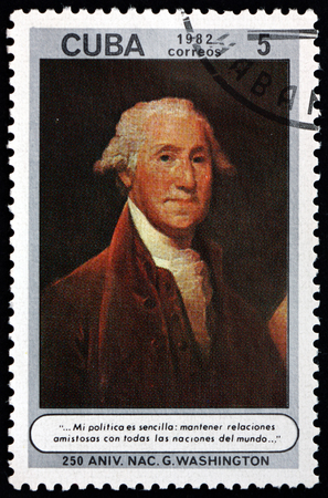 CUBA - CIRCA 1982: a stamp printed in Cuba shows George Washington, was an American statesman and soldier who served as the first President of the United States from 1789 to 1797, circa 1982 Editorial
