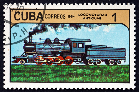 CUBA - CIRCA 1984: a stamp printed in Cuba shows early locomotive, circa 1984