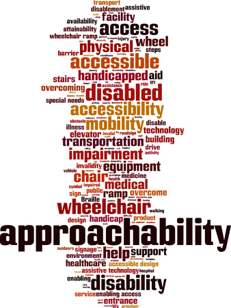 Approachability word cloud concept. Vector illustration