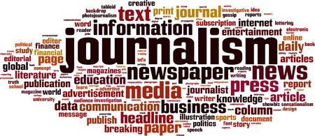 Journalism word cloud concept. Vector illustration Vektoros illusztráció