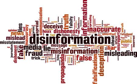 Koncepcja chmura słowa dezinformacji. Ilustracji wektorowych