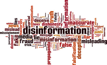 Disinformation word cloud concept. Vector illustration