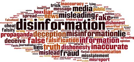 Disinformation word cloud concept. Vector illustration
