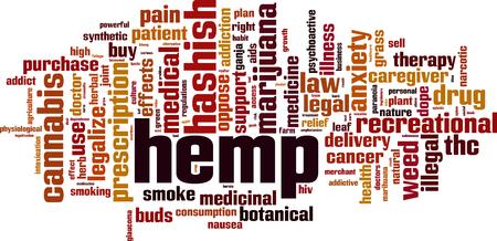 Hemp word cloud concept. Vector illustration