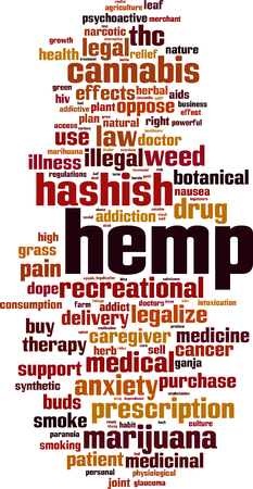 Hemp word cloud concept. Vector illustration