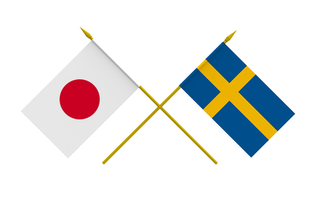 Flags of Japan and Sweden, 3d render, isolated Stock Photo