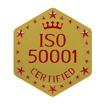 ISO 50001 standard, energy management system, 3D render, isolated on white Stock Photo