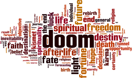 Doom word cloud concept. Vector illustration