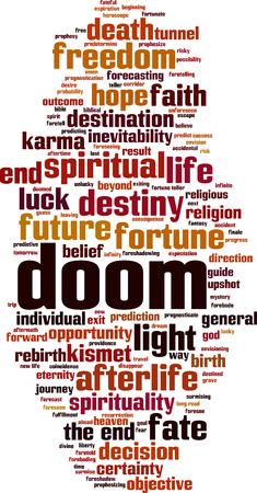 Doom word cloud concept. Vector illustration