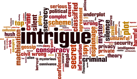 Intrigue word cloud concept. Vector illustration