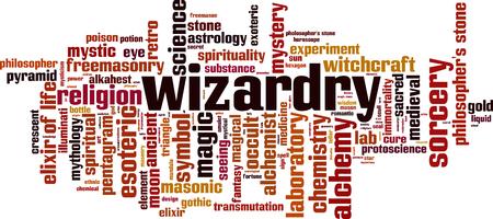 Wizardry word cloud concept. Vector illustration