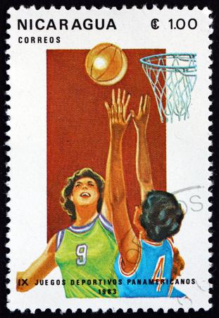 NICARAGUA - CIRCA 1983: a stamp printed in Nicaragua shows womens basketball, 9th Pan-American games, circa 1983