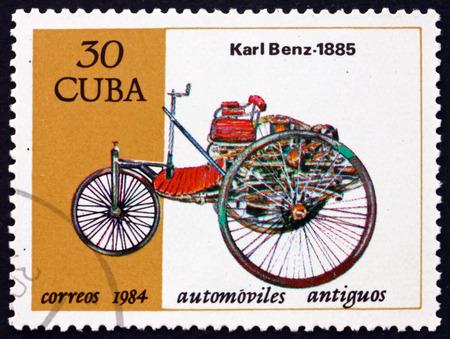 CUBA - CIRCA 1984: a stamp printed in Cuba shows 1885 Benz, classic car, circa 1984