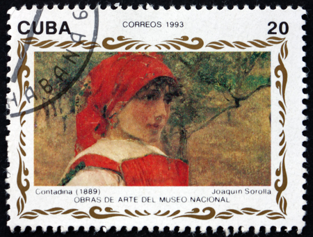 CUBA - CIRCA 1993: a stamp printed in Cuba shows Contadina, painting by Joaquin Sorolla y Bastida, Spanish painter, circa 1993