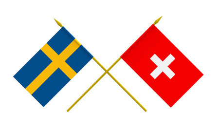 Flags of Sweden and Switzerland, 3d render, isolated Stock Photo