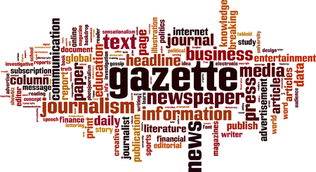 Gazette word cloud concept. Vector illustration