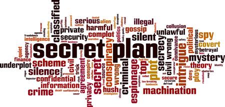 Geheime Plan Wort Cloud-Konzept . Vektor-Illustration