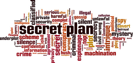 Secret plan word cloud concept. Vector illustration Illustration