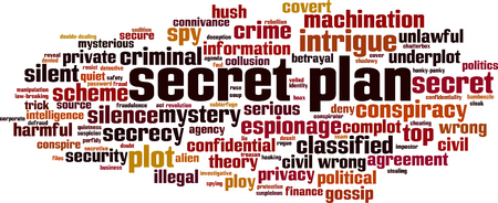 Secret plan word cloud concept. Vector illustration Illustration