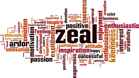 Zeal word cloud concept. Vector illustration Çizim