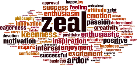 Zeal word cloud concept. Vector illustration Vettoriali