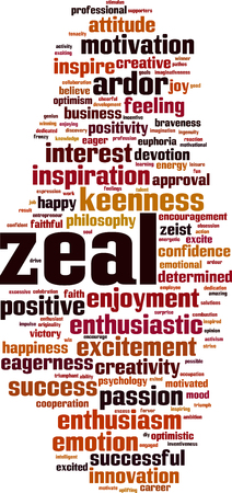 Zeal word cloud concept. Vector illustration Illustration
