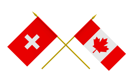 Flags of Canada and Switzerland, 3d render, isolated Stock Photo