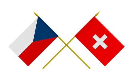Flags of Czech Republic and Switzerland, 3d render, isolated on white