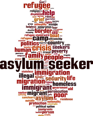 Asylum seeker crisis word cloud concept. Vector illustration