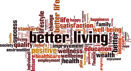 Better living word cloud concept. Vector illustration Çizim